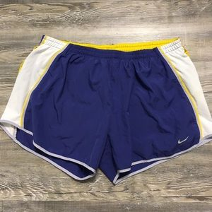 PURPLE YELLOW NIKE DRI FIT ATHLETIC SHORTS SZ LG L